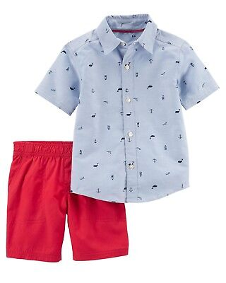 Carters Baby Boys 2 Pc Button-Front & Poplin Short Set 3 6 9 12 24 Months
