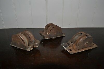 Antique Lot of 3 Pairs of Metal Cast Window Sash Pulleys Industrial Steampunk