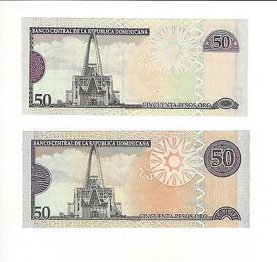 Dominican Republic 2008  Two Different Type 50 Pesos Same Year  Nice Unc