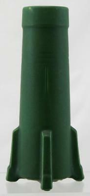 """Owens 10.75"""" Buttressed/footed Vase Carved Tree Motif In Matte Green Glaze Mint"""