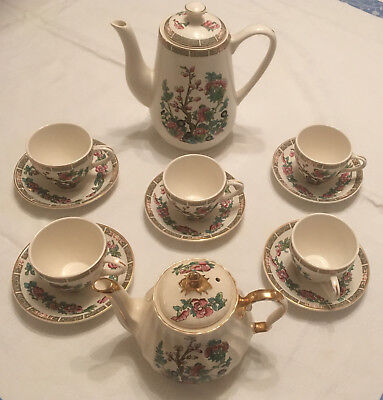 Indian Tree Pattern Sadler Teapot And Lord Nelson Coffee Pot And Cups & Saucers