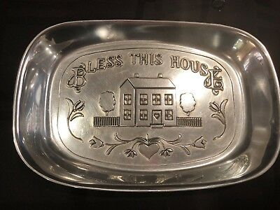 Wilton Armetale BLESS THIS HOUSE Bread Plate - Excellent Used Condition!