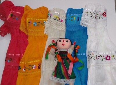 Mexican Girls Dress Gypsy Variety of color Lace Embroidered Flowers 4-5 Toddler