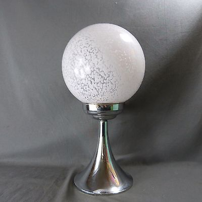 French Vintage CEILING GLOBE LIGHT Opaque Glass Granita with Chromium Base 1930'