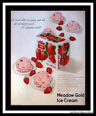 1950 Meadow Gold Strawberry Ice Cream Ad - Retro Vintage Advertising Page