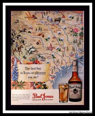 1950 Paul Jones Blended Whiskey Ad w Texas Map - Vintage Advertising Page