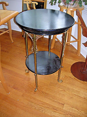 Vintage Occasional Table Wood w/ Ornate Brass legs and Accents  Table