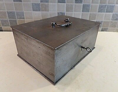 Antique French Metal Cash Box With Spring Loaded Lock & Orig.key- Strong & Heavy