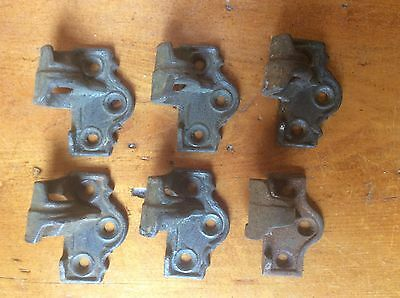"""SET OF 6 ANTIQUE CAST IRON SHUTTER HINGES, ONE SIDE ONLY, 2 1/8"""" x 1 3/4"""" x 1"""""""