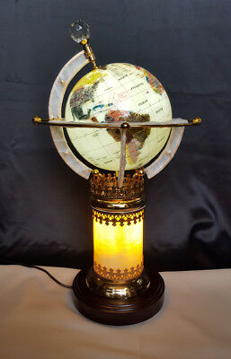 Illuminated white ocean multi-gemstone World Globe table lamp with auto rotation