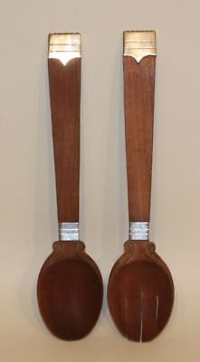Hector Aguilar Taxco Mexico 990 Silver Rosewood Salad Fork & Spoon Serving Set