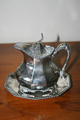Reed & Barton Silverplate Lidded Creamer Pitcher & Silverplated Tray USA Antique