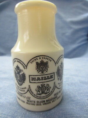 Maile French Dijon Mustard Jar Milk Glass Product of France Tan Dijon Empty