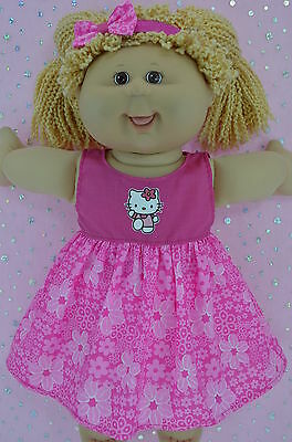 "Play n Wear Doll Clothes To Fit 16"" Cabbage Patch HOT PINK/FLOWER DRESS~HEADBAND"