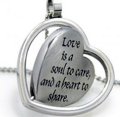 """Love Heart Necklace Stainless Steel Silver """"Love is a Soul to Care"""" Spinner"""