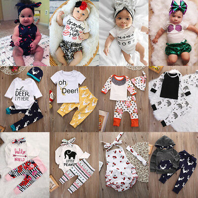 Toddler Newborn Baby Boy Girls Romper T-shirt Tops+Pants Outfits Set Clothes lot