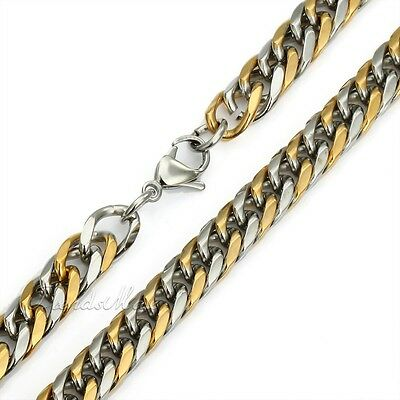 9/11/13mm MENS Chain Silver Gold Curb 316L Stainless Steel Necklace 18-36inch