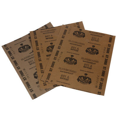 3 Sheets Grit 3000 5000 7000 Wet and Dry Sandpaper Polishing Abrasive Waterproof