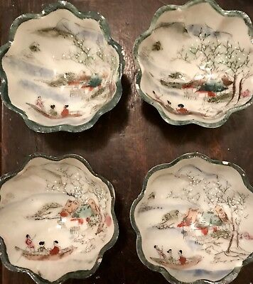 4 Antique Hand Painted Nippon Meiji Satsuma Moriaged Kutani Condiment Bowls