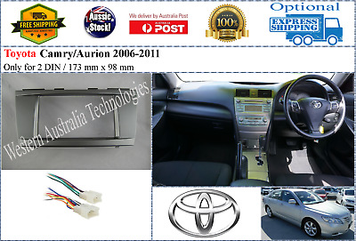 *Harness + Fascia facia Toyota Camry Aurion 2006-2011 Double Two 2 DIN Dash Kit