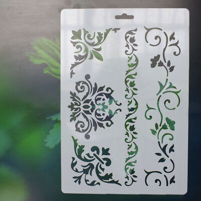 4x Kids Floral Scrapbooking Drawing Template Stencils Painting Tool DIY Craft