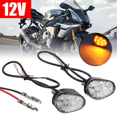 2pcs Amber LED Turn Signal Indicator Light Flush Mount Fits For Yamaha YZF R1 R6