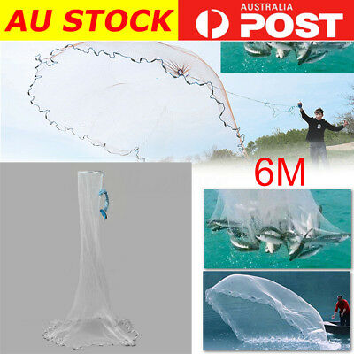 20ft 3/4'' Cast Net Quick Throw Mono Mesh Fish Drawstring Chain Bottom Spread AU