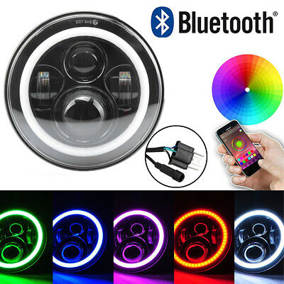 "7"" RGB Angel Eyes LED Fern-Abblend-Scheinwerfer Bluetooth für Jeep Land Rover"