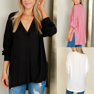 Fashion Womens Summer Loose Long Sleeve Shirt Casual Blouse Chiffon Tops T-Shirt
