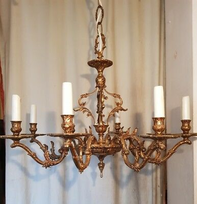 Antique Early 20th Cent Gilt or Bronze Ormolu Rococo 8 Arm Bulb Cage Chandelier