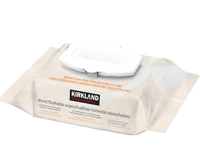 Genuine Kirkland Signature Moist Flushable Wipes 3 x 60 Packs 180 Wipes Freeship