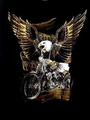 Harley-Davidson MotorBike image Eagle S/sleeve T-shirt black 100% cotton Large
