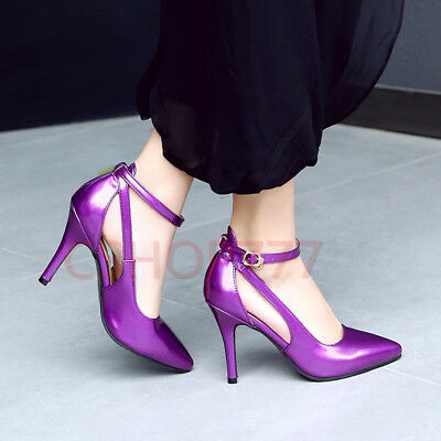 Womens Ankle Strap buckle Pumps patent Leather Pointy Toe slim High Heels Shoes