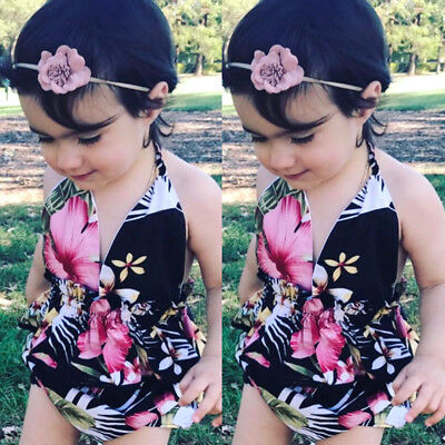 NEW Kids Baby Girls Floral Halter Swimwear Swimsuit Bathing Suit Dress Beachwear