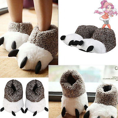 Mens Womens 3D Plush Slippers Winter Warm Pajamas Home Indoor Shoes Footwear new