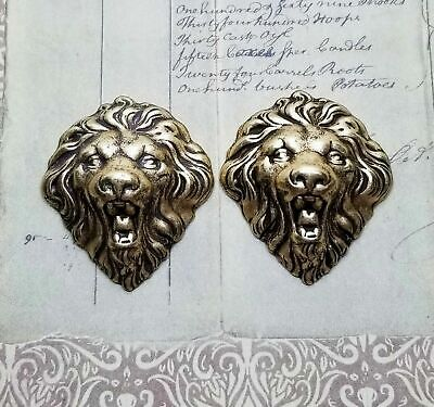 Large Oxidized Brass Lion Head Stampings (2) - BORAT157