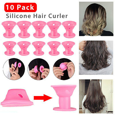10PCS Silicone Hair Curler Magic Hair Care Rollers Styling Tool No Clip DIY Pink