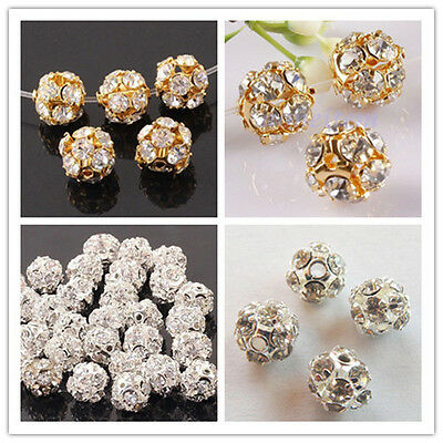 50pcs Wholesale Gold/Silver Plated Bayberry ball rhinestone crystal spacer bead