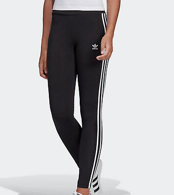 93cff2fb30b6f ADIDAS ORIGINALS 3 stripes leggings Womens black pink UK 10,12,14,16 ...