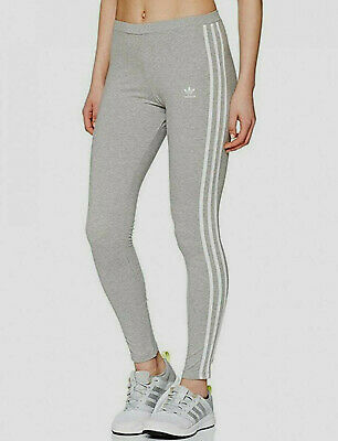 4071f4349468f New Adidas Originals 3 stripes leggings running gym sport UK10 12 14 Womens  Grey
