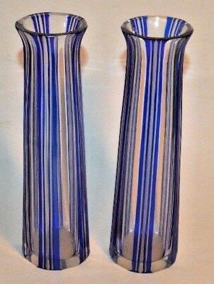 Blue cut to Clear Overlay Glass, Viennese or Bohemian, Vertical Striped Vases