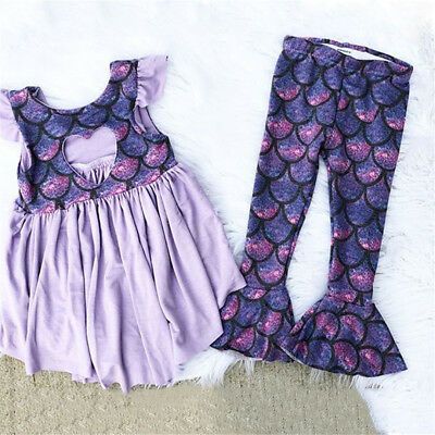 USA Toddler Kids Baby Girls Mermaid Sequins Tops Blouse Long Pants Outfits Set