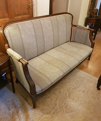 edwardian antique sofa couch settee oriental blue gold fabric design