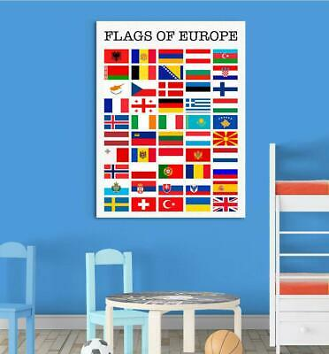 Flags of Europe Children Education Giant Poster - A5 A4 A3 A2 A1 A0 Sizes