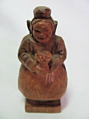 Vintage Hand Carved Wood Figurine Young Girl w/ Bouquet Signed EK Folk Art