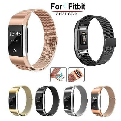 UK Magnetic Milanese Stainless Steel Watch Band Wrist Strap For Fitbit Charge 2