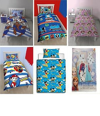 New Disney Character Girls Boys Bedding Single Duvet Quilt Cover Bed Set
