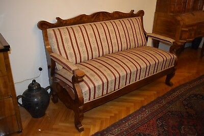 Antique living room seater set including sofa, table, 2x armchairs and 2x chairs