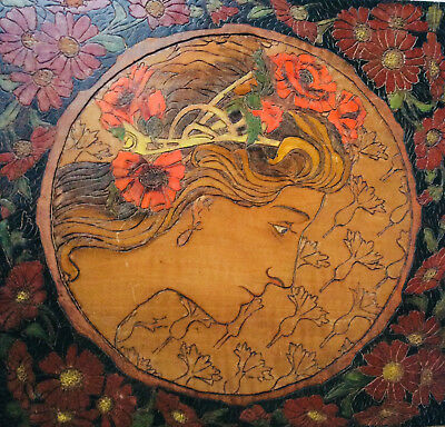 Antique 2 Wood Panel Plaque Art Nouveau Woman & Men Flower Atche Mucha 1900