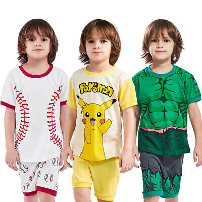 Kid Boy Superhero Pajamas Set Toddler Costume Sleepwear Hulk Nightwear Clothes